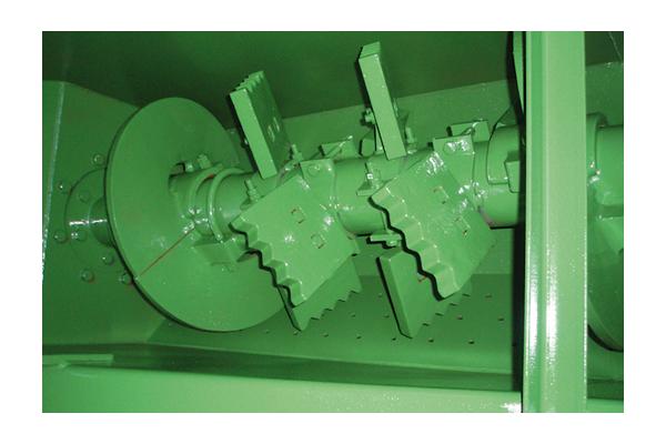 Detalle de las paletas de un tornillo relavador de grava Granier